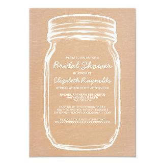 Peach Mason Jar Bridal Shower Invitations