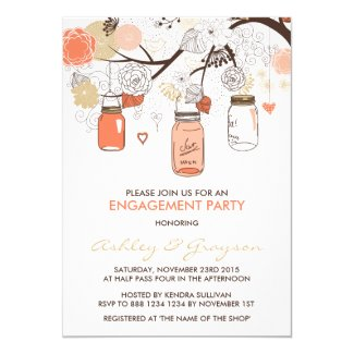 Peach Mason Jars Engagement Party Invitation