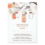"Peach Mason Jars Spring Baby Shower Invitation 5"" X 7"" Invitation Card"