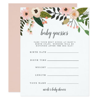 Peach Meadow Baby Shower Guessing Game Card