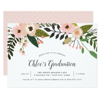 Peach Meadow Graduation Party Invitation