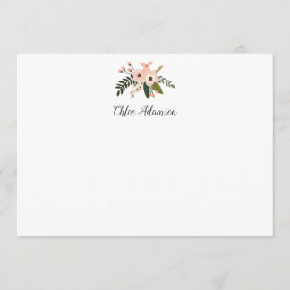 Peach Meadow Personalized Stationery Flat Card