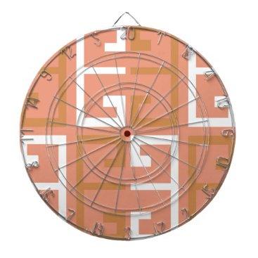 Aztec Themed Peach Melba Tile Dartboard With Darts