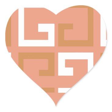 Aztec Themed Peach Melba Tile Heart Sticker