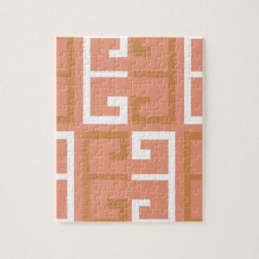 Aztec Themed Peach Melba Tile Jigsaw Puzzle