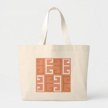 Aztec Themed Peach Melba Tile Large Tote Bag