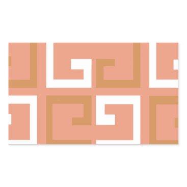 Aztec Themed Peach Melba Tile Rectangular Sticker