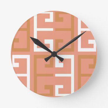 Aztec Themed Peach Melba Tile Round Clock