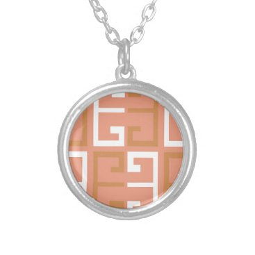 Aztec Themed Peach Melba Tile Silver Plated Necklace