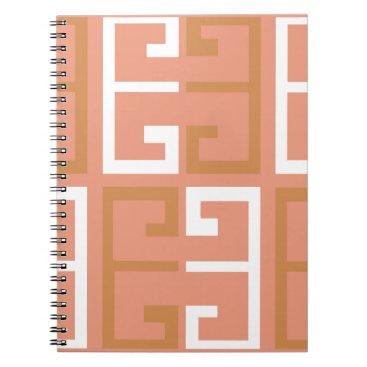 Aztec Themed Peach Melba Tile Spiral Notebook