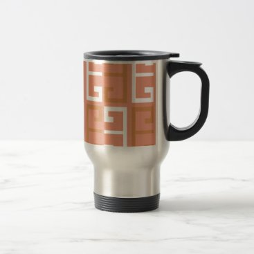 Aztec Themed Peach Melba Tile Travel Mug