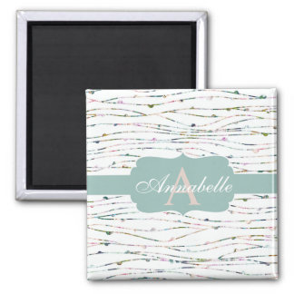 Peach & Mint Branches Cottage Chic Monogram Magnet