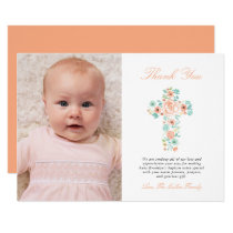 Peach & Mint Floral Cross Baptism Photo Thank You Card