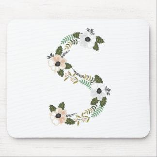 Peach & Mint Floral Monongram S Mouse Pad
