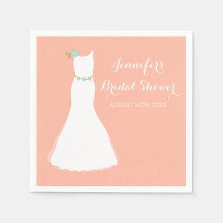 Peach Mint Floral Wedding Gown Bridal Shower Napkin