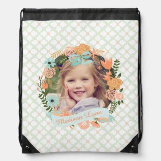 Peach Mint Girly Floral Wreath Photo Custom Drawstring Bag