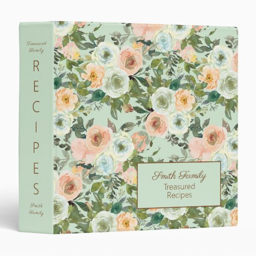 Peach Mint Green Floral Treasured Family Recipes 3 Ring Binder