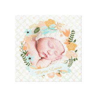 Peach Mint Nursery Floral Wreath Photo Custom Canvas Print