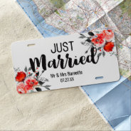 Peach & Mint Peony Floral Wedding Just Married License Plate at Zazzle