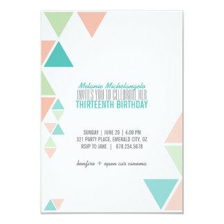 peach mint teal GEOMETRIC birthday invitation