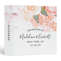 Peach Mint Watercolor Floral Wedding Photo Album 3 Ring Binder