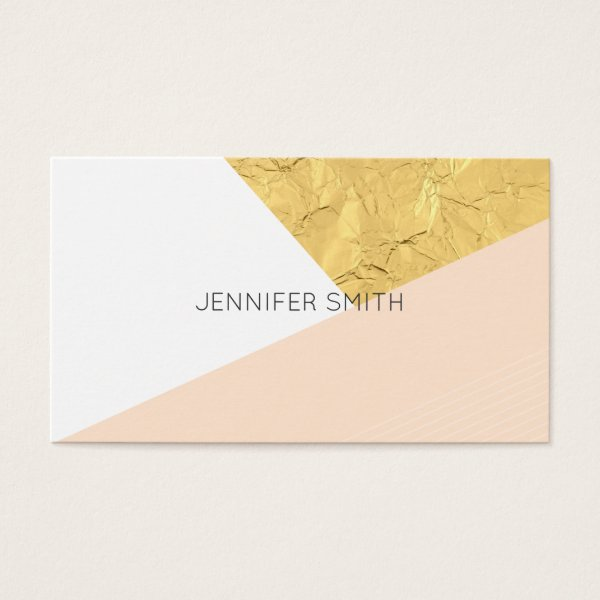 Peach modern faux gold color block business card
