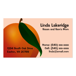 Peach Mommy Contact  Info Card Double-Sided Standard Business Cards (Pack Of 100)