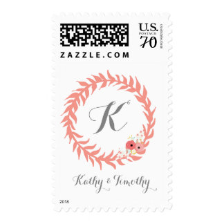 Peach Monagrammed Postage Stamps Template