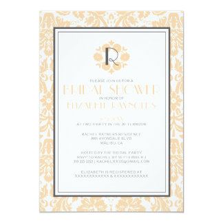 Peach Monogram Damask Bridal Shower Invitations
