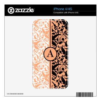 peach monogram damask iPhone 4 skins