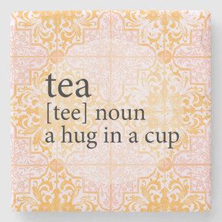 Peach Moroccan Tile Tea Time Hug in a Cup Stone Coaster