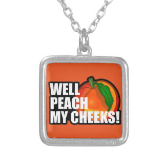 Peach My Cheeks Square Pendant Necklace