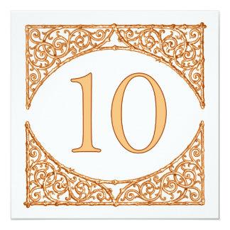 Peach 'n Brown Country Wood Screen Table Number 10 Card