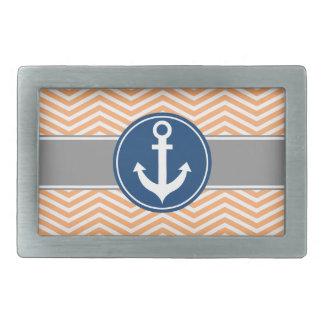 Peach Nautical Anchor Chevron Belt Buckle