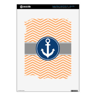 Peach Nautical Anchor Chevron Skin For iPad 3