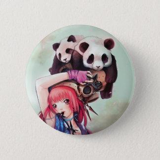 Peach Ninja Pandas Button
