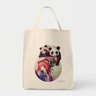 Peach Ninja Pandas Grocery Tote Tote Bags