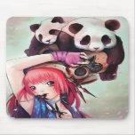 Peach Ninja Pandas Mousepad