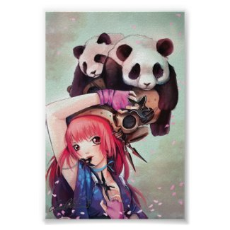 Peach Ninja Pandas Poster print