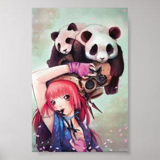 Peach Ninja Pandas Poster