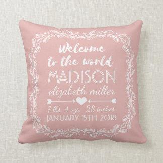 Peach Nursery Baby Girl Birth Stats Typography Throw Pillow