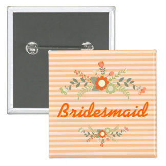 Peach & Olive Green Floral Wedding Bridesmaid 2 Inch Square Button