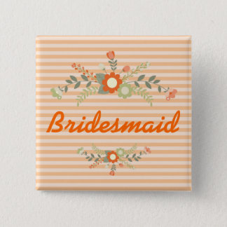 Peach & Olive Green Floral Wedding Bridesmaid Button