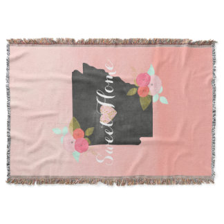 Peach Ombre Arkansas State Floral & Moveable Heart Throw Blanket