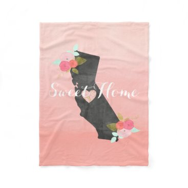Valentines Themed Peach Ombre California State & Moveable Heart Fleece Blanket