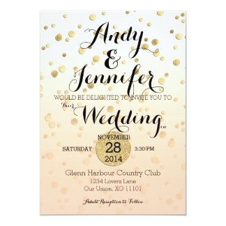 Peach Ombré & Gold Confetti ♥ Wedding Invitation