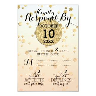 Peach Ombré & Gold Confetti ♥ Wedding RSVP Card
