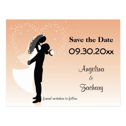Peach Ombre Save The Date Wedding Post Card