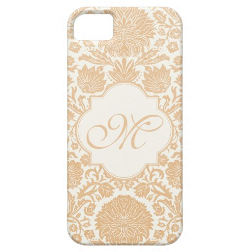 Peach, Orang Monogrammed Floral Damask iPhone 5 Case