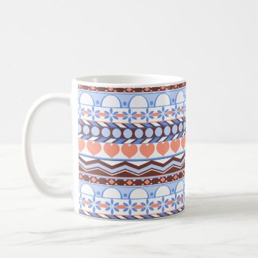 Aztec Themed peach orange and blue striped aztec pattern coffee mug